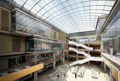 Rendering of Lazaridis Hall atrium
