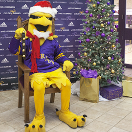 Laurier Hawk dressed in holiday attire.
