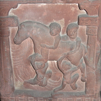 Bas relief of horse and people