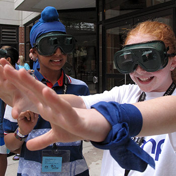 students wearing VR goggles
