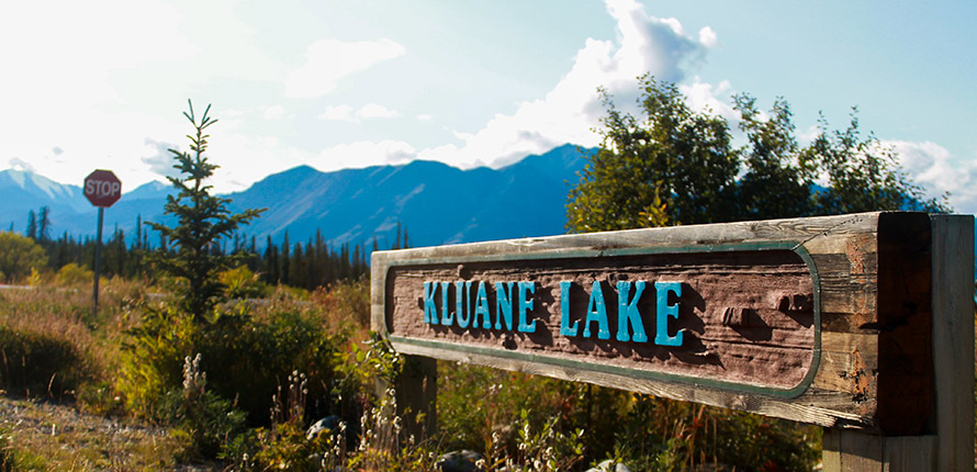Sign that reads Kluane Lake