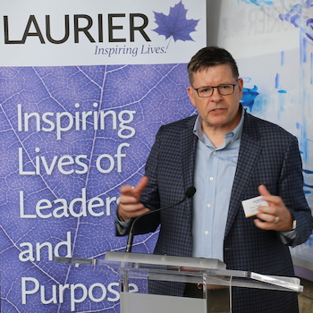 Laurier's new champion in Ottawa, Associate Deputy Minister Shawn Tupper, visits Waterloo campus