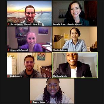 Laurier alumni give back through virtual student-alumni mentorship receptions.